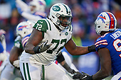 New York Jets Brandon Shell (72) blocks during an NFL football game against the Buffalo Bills, Sunday, December 9, 2018, in Orchard Park, N.Y.  (Mike Janes Photography)