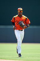 GCL Orioles center fielder Markel Jones (17) jogs to the dugout during a game against the GCL Red Sox on August 16, 2016 at the Ed Smith Stadium in Sarasota, Florida.  GCL Red Sox defeated GCL Orioles 2-0.  (Mike Janes/Four Seam Images)