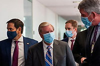 United States Senator Lindsey Graham (Republican of South Carolina) fields questions from reporters as he arrives for the GOP luncheon in the Hart Senate Office Building on Capitol Hill in Washington, DC., Tuesday, June 23, 2020. <br /> Credit: Rod Lamkey / CNP/AdMedia