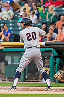 Chris Taylor (20) of the Tacoma Rainiers at bat against the Salt Lake Bees in Pacific Coast League action at Smith's Ballpark on August 31, 2015 in Salt Lake City, Utah. Salt Lake defeated Tacoma 6-5. (Stephen Smith/Four Seam Images)