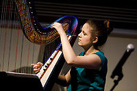 Harpist Sydney Campen performs during the Composition Forum at the 11th USA International Harp Competition at Indiana University in Bloomington, Indiana on Monday, July 8, 2019. (Photo by James Brosher)