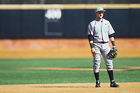 Marshall Thundering Herd shortstop Sergio Leon (4) on defense against the Georgetown Hoyas at Wake Forest Baseball Park on February 15, 2014 in Winston-Salem, North Carolina.  The Thundering Herd defeated the Hoyas 5-1.  (Brian Westerholt/Four Seam Images)