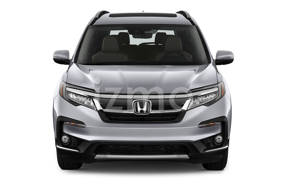 Car photography straight front view of a 2020 Honda Pilot Touring 5 Door SUV