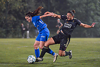 Genk's midfielder Emily Steijvers (33) and OHL's midfielder Sara Yuceil (13) pictured during a female soccer game between  Racing Genk Ladies and Oud Heverlee Leuven on the fourth matchday of the 2020 - 2021 season of Belgian Scooore Womens Super League , friday 9 th of October 2020  in Genk , Belgium . PHOTO SPORTPIX.BE | SPP | STIJN AUDOOREN
