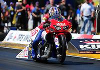 Mar. 13, 2011; Gainesville, FL, USA; NHRA pro stock motorcycle rider Hector Arana during the Gatornationals at Gainesville Raceway. Mandatory Credit: Mark J. Rebilas-