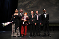 August 23 2012 - Montreal (Qc) CANADA - Montreal World Film Festival 2012 - Opening ceremonies at Place-des-Arts - Jury (Left to right) : Greta Scacchi, Michel Cote, Vera Belmont, Kim Dong Ho, Andrei Plakhov,Wang Xueqi