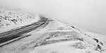 Hurricane force winds scream along the snowy hillside of Steptoe Butte with a road curving upward into zero visibility.