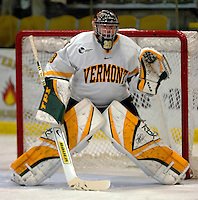 "5 January 2007: University of Vermont goaltender Joe Fallon (29) from Bemidji, MN, warms up prior to a Hockey East matchup against the University of New Hampshire Wildcats at Gutterson Fieldhouse in Burlington, Vermont. The UNH Wildcats defeated the UVM Catamounts 7-1 in front of a record setting 48th consecutive sellout at ""the Gut""...Mandatory Photo Credit: Ed Wolfstein Photo.<br />"