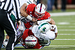 Southern Methodist Mustangs defensive end Mason Gentry (93) and Tulane Green Wave running back Sherman Badie (3) in action during the game between the Tulane Green Wave and the SMU Mustangs at the Gerald J. Ford Stadium in Dallas, Texas.