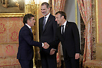 King Felipe VI of Spain (c), receives in the Royal Palace the President of the French Republic Emmanuel Macron (r) in presence of Spanish legend of cycling Pedro Delgado. July 26,2018. (ALTERPHOTOS/Acero)