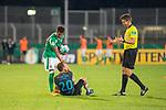 12.09.2020, Ernst-Abbe-Sportfeld, Jena, GER, DFB-Pokal, 1. Runde, FC Carl Zeiss Jena vs SV Werder Bremen<br /> <br /> Theodor Gebre Selassie (Werder Bremen #23)<br /> René Lange (Carl Zeiss Jena #20)<br /> Daniel Siebert (Schiedsrichter / Referee)<br /> <br />  <br /> <br /> <br /> Foto © nordphoto / Kokenge
