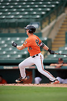 Baltimore Orioles Robert Neustrom (80) follows through on a swing during a Florida Instructional League game against the Boston Red Sox on October 8, 2018 at the Ed Smith Stadium in Sarasota, Florida.  (Mike Janes/Four Seam Images)