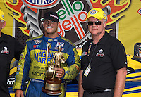 Jun. 2, 2013; Englishtown, NJ, USA: NHRA funny car driver Matt Hagan (left) celebrates with father David Hagan after winning the Summer Nationals at Raceway Park. Mandatory Credit: Mark J. Rebilas-