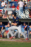 State College Spikes third baseman Danny Diekroeger (19) at bat during a game against the Batavia Muckdogs on July 3, 2014 at Dwyer Stadium in Batavia, New York.  State College defeated Batavia 7-1.  (Mike Janes/Four Seam Images)