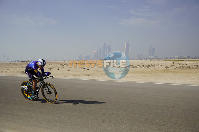 Fausto Masnada (ITA) Deceuninck-Quick Step during Stage 2 of the 2021 UAE Tour an individual time trial running 13km around  Al Hudayriyat Island, Abu Dhabi, UAE. 22nd February 2021.  <br /> Picture: Eoin Clarke | Cyclefile<br /> <br /> All photos usage must carry mandatory copyright credit (© Cyclefile | Eoin Clarke)