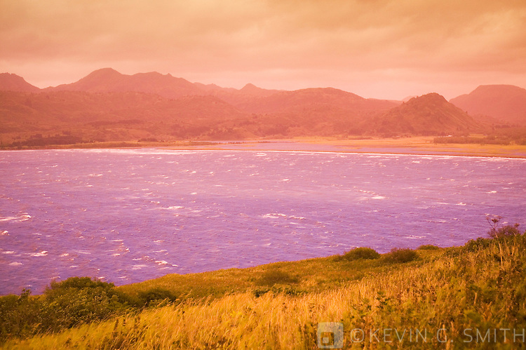 Kalsin Bay with the Marin Range in the background. Stormy fall day, Kodiak Alaska, USA.