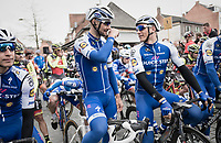 Tom Boonen (BEL/Quick-Step Floors) in his last ever (farewell) race on Belgian soil (starting in his hometown of Mol) next to his teammate and Scheldeprijs record holder Marcel Kittel (GER/Quick Step Floors) at the start line<br /> <br /> 105th Scheldeprijs 2017 (1.HC)<br /> 1 Day Race: Mol › Schoten (BEL/202km)
