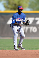 Texas Rangers second baseman Travis Demeritte (72) during an Instructional League game against the Cincinnati Reds on October 3, 2014 at Surprise Stadium Training Complex in Surprise, Arizona.  (Mike Janes/Four Seam Images)
