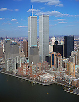 aerial photograph of the World Trade Center towers, Manhattan, New York City on March 27, 2001.