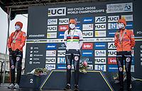 the all-dutch women's podium:<br /> 1/ Lucinda Brand (NED/Baloise-Trek Lions)<br /> 2/ Annemarie Worst (NED/777)<br /> 3/ Denise Betsema (NED/Pauwels Sauzen-Bingoal)<br /> <br /> UCI 2021 Cyclocross World Championships - Ostend, Belgium<br /> <br /> Women's Race<br /> <br /> ©kramon