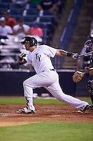 Tampa Yankees catcher Santiago Nessy (19) at bat during a game against the Lakeland Flying Tigers on April 8, 2016 at George M. Steinbrenner Field in Tampa, Florida.  Tampa defeated Lakeland 7-1.  (Mike Janes/Four Seam Images)
