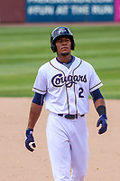 Kane County Cougars second baseman Yan Sanchez (2) walks back to first base during a Midwest League game against the Quad Cities River Bandits on July 1, 2018 at Northwestern Medicine Field in Geneva, Illinois. Quad Cities defeated Kane County 3-2. (Brad Krause/Four Seam Images)