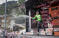 Pierre Rolland (FRA/Cannondale-Drapac) celebrating his victory on the podium<br /> <br /> Stage 17: Tirano › Canaze (219km)<br /> 100th Giro d'Italia 2017