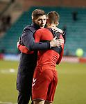 20.12.2019 Hibs v Rangers: Steven Gerrard embraces Borna Barisic
