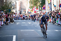 Julian Alaphilippe (FRA/Deceuninck - Quick Step) (successfully) attacking once again in the streets of Leuven.<br /> <br /> Elite Men World Championships - Road Race<br /> from Antwerp to Leuven (268.3km)<br /> <br /> UCI Road World Championships - Flanders Belgium 2021<br /> <br /> ©kramon