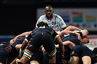 4th April 2021; Paris La Défense Arena, Nanterre, Paris, France; European Champions Cup Rugby, Racing 92 versus Edinburgh;  J Joseph ( 8 - Racing ) watches as the scrum is pushed backwards