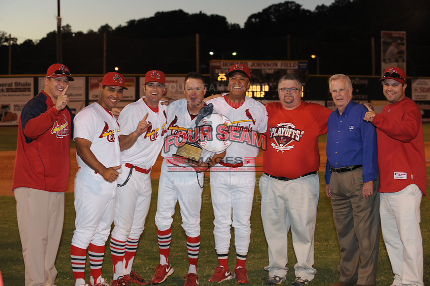 Johnson City Staff poses with Appalachian League Championship Trophy and League President after defeating the Elizabethton Twins 6-2 at Howard Johnson Field, Johnson City Tennessee.
