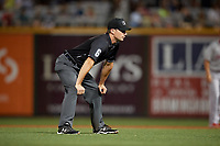 Umpire Matthew Brown during a Southern League game between the Chattanooga Lookouts and Birmingham Barons on May 2, 2019 at Regions Field in Birmingham, Alabama.  Birmingham defeated Chattanooga 4-2.  (Mike Janes/Four Seam Images)