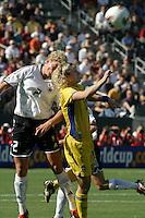 Kerstin Stegemann, left, Victoria Svensson, right, Germany 2-1 over Sweden at the  WWC 2003 Championships.