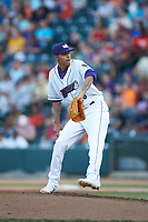 Winston-Salem Dash relief pitcher Jorgan Cavanerio (36) in action against the Down East Wood Ducks at BB&T Ballpark on May 10, 2019 in Winston-Salem, North Carolina. The Wood Ducks defeated the Dash 9-2. (Brian Westerholt/Four Seam Images)