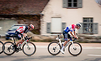 Mathieu Van der Poel (NED/Alpecin-Fenix) upping the pace<br /> <br /> 44th AG Driedaagse Brugge-De Panne 2020 (1.UWT / BEL)<br /> 1 day race from Brugge to De Panne (203km shortened to 188km due to the windy weather conditions) <br /> <br /> ©kramon