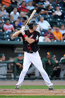 Great Lakes Loons outfielder Jeremy Rathjen (13) during a game against the Fort Wayne TinCaps on August 19, 2013 at Dow Diamond in Midland, Michigan.  Great Lakes defeated Fort Wayne 12-5.  (Mike Janes/Four Seam Images)