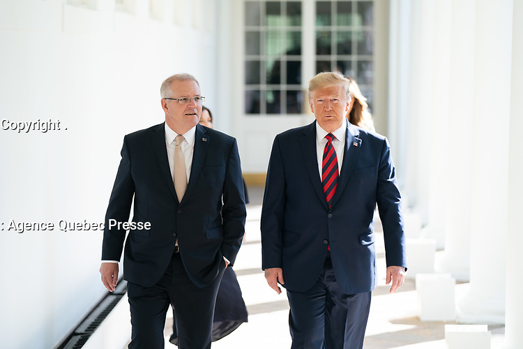President Donald J. Trump and First Lady Melania Trump walk with Australian Prime Minister Scott Morrison and his wife Mrs. Jenny Morrison Friday, Sept. 20, 2019, along the Colonnade of the White House. (Official White House Photo by Shealah Craighead)