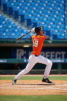 Max Debiec (18) of O'Dea High School in Seattle, WA during the Perfect Game National Showcase at Hoover Metropolitan Stadium on June 19, 2020 in Hoover, Alabama. (Mike Janes/Four Seam Images)