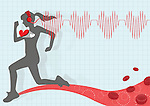 Illustrative image of woman running while listening music representing healthy lifestyle