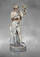 1st century AD Roman statue of Silenus pouring wine from a jug. The head is from the Flavian period and the body 1st century. A copy of an earlier Hwellenistic sculpture by the school of Lysippus, inv 323, Vatican Museum Rome, Italy,  grey art background