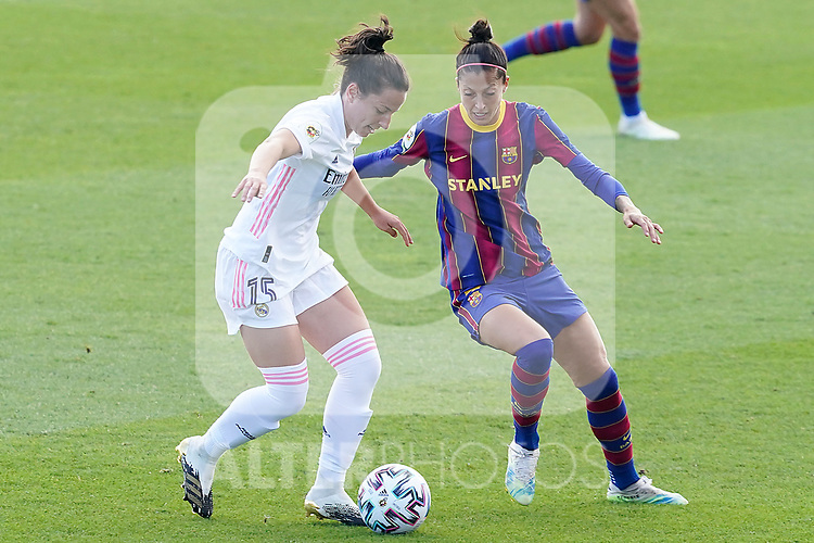 First official match and first classic in the history of women's Real Madrid.<br /> Real Madrid's Ivana Andres (l) and FC Barcelona's Jennifer Hermoso during Spanish Female League match. October 4,2020. (ALTERPHOTOS/Acero)