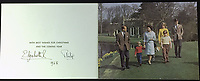 BNPS.co.uk (01202 558833)<br /> Pic: Rowleys/BNPS<br /> <br /> Pictured: 1968 - Another colour family group from the spring sold for £120<br /> <br /> A series of Christmas cards sent by the Royal Family to a married couple on their staff over a 25 year period have sold for £2,000.<br /> <br /> Most of the cards were sent by the Queen and Prince Philip and show the changing face of the monarchy from the black-and-white post war world to the colourful 1970s.<br /> <br /> They were sent to the couple who worked at Balmoral, the wife in the house and the husband on the estate.<br /> <br /> The cards were sold individually with the most expensive being the one for Christmas 1947 which was signed by King George VI and the Queen Mother.
