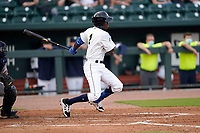 Second baseman Tyler Tolbert (2) of the Columbia Fireflies in a game against the Charleston RiverDogs on Tuesday, May 11, 2021, at Segra Park in Columbia, South Carolina. (Tom Priddy/Four Seam Images)