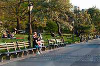 New York, New York City in the time of Coronavirus. People leave isolation to take advantage of a gorgeous day at Riverside Park on the Hudson River.
