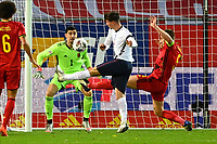 15th November 2020; Leuven, Belgium;  Thibaut Courtois goalkeeper of Belgium, Mason Mount midfielder of England challenged by Jan Vertonghen defender of Belgium during the UEFA Nations League match group stage final tournament - League A - Group 2 between Belgium and England