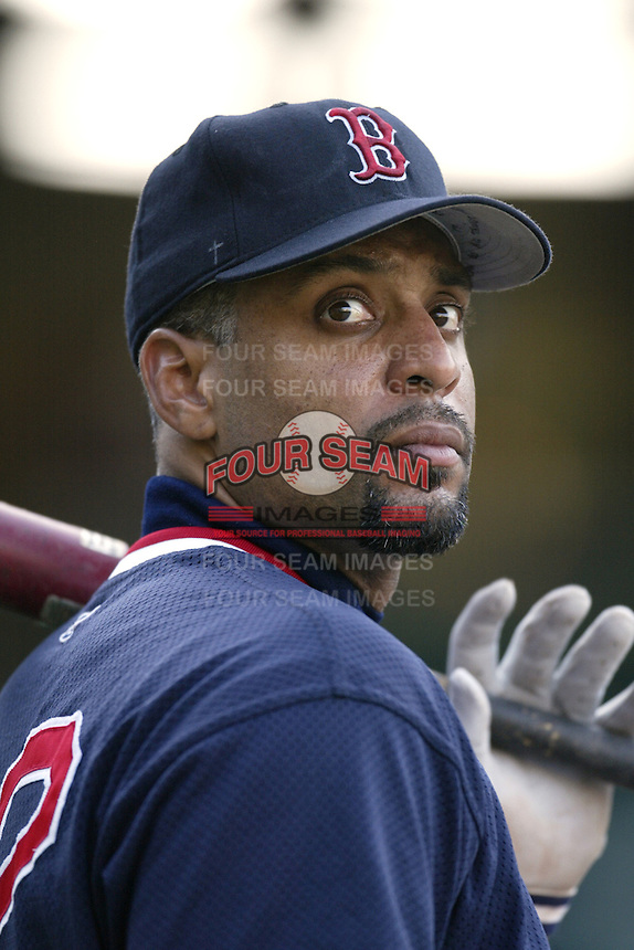 Tony Clark of the Boston Red Sox before a 2002 MLB season game against the Los Angeles Angels at Angel Stadium, in Anaheim, California. (Larry Goren/Four Seam Images)