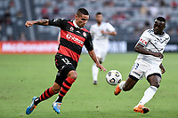 10th February 2021; Bankwest Stadium, Parramatta, New South Wales, Australia; A League Football, Western Sydney Wanderers versus Melbourne Victory; Tate Russell of Western Sydney Wanderers runs past Adam Traore of Melbourne Victory