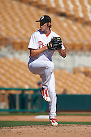 Glendale Desert Dogs pitcher Tom Windle (38) delivers a pitch during an Arizona Fall League game against the Surprise Saguaros on October 24, 2015 at Camelback Ranch in Glendale, Arizona.  Surprise defeated Glendale 18-3.  (Mike Janes/Four Seam Images)