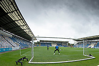 A general view during warm up prior to Colchester United vs Oldham Athletic, Sky Bet EFL League 2 Football at the JobServe Community Stadium on 3rd October 2020