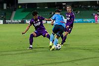 24th March 2021; HBF Park, Perth, Western Australia, Australia; A League Football, Perth Glory versus Sydney FC; Perth's Kosuke Ota tackles Sydney's Alexander Baumjohann